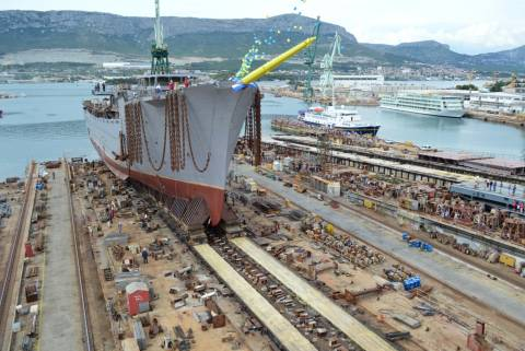 Launching of the world's biggest sailing ship